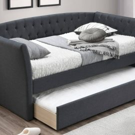 Charcoal Upholstered Day Bed w/ Slats + Trundle