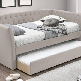 Coffee Upholstered Day Bed w/ Slats + Trundle