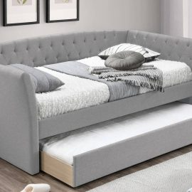Grey Upholstered Day Bed w/ Slats + Trundle