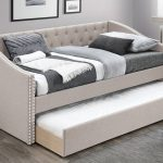 Coffee Nailhead Upholstered Daybed w/ Trundle 3 Colors