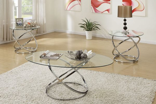 Modern Chrome Design 3Pc Coffee Table Set