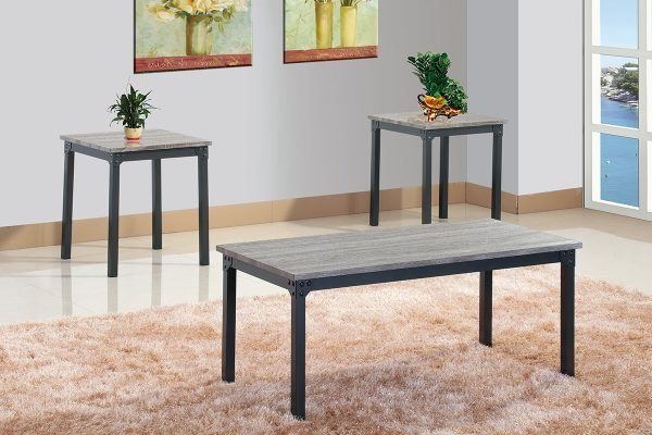 3Pc Vintage top with Black metal frame coffee table