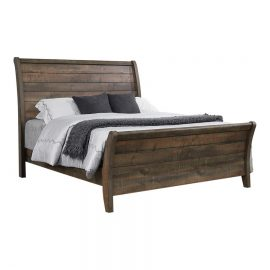 Frederick Queen Sleigh Panel Bed Weathered Oak