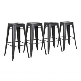 Metal Barstools Set of 4 Black