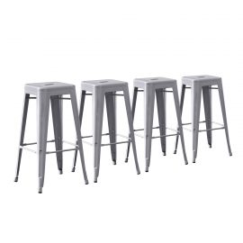 Metal Barstools Set of 4 Silver
