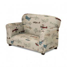 Orville Kids Beige Plane Print Upholstered Sofa