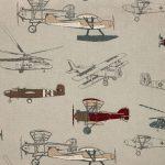 Orville Kids Beige Plane Print Upholstered Sofa Fabric