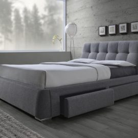 Fenbrook Tufted Upholstered Storage Bed Grey