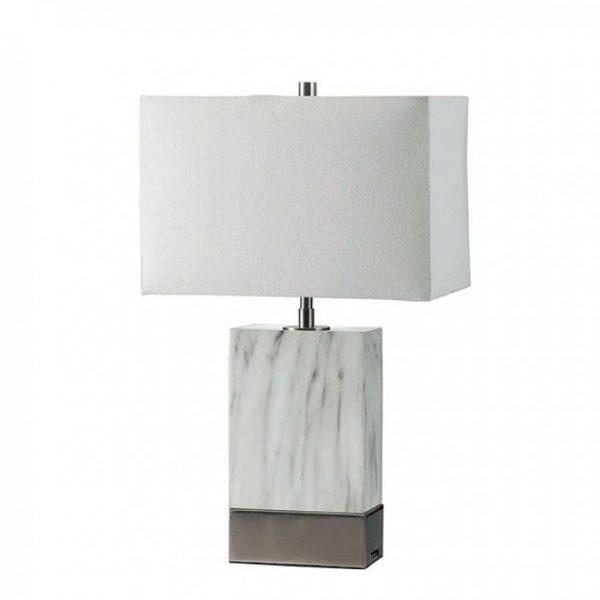 Faith Marble Silver USB Table Lamp