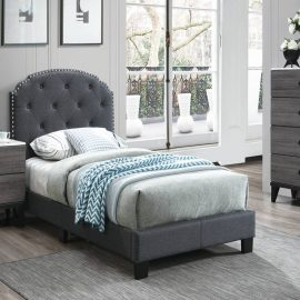 Classic Nail-head Design Upholstered Bed