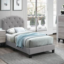 Classic Nail-head Design Gray Upholstered Bed