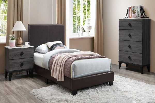 Clean Brown Upholstered Bed