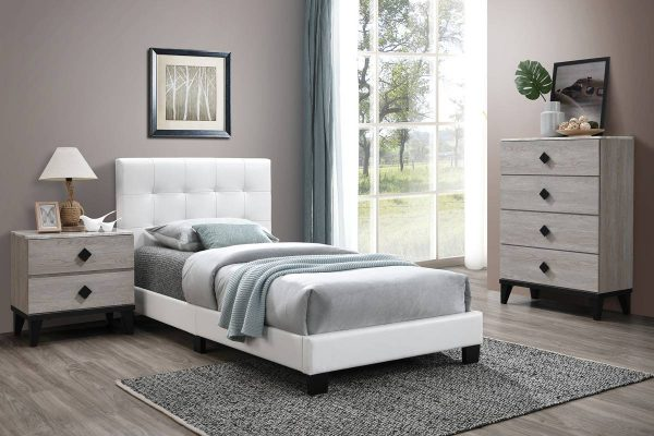 Gentle Touch White Upholstered Bed