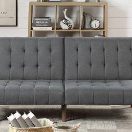 Sofa Sleeper Button Tufted Blue Grey