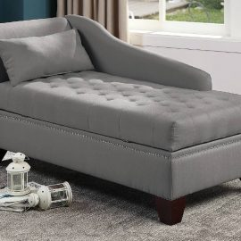 Tufted Storage Lounge Chaise in Grey, Navy, Black