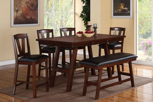 Dark Walnut Wood Counter Height Dining Table